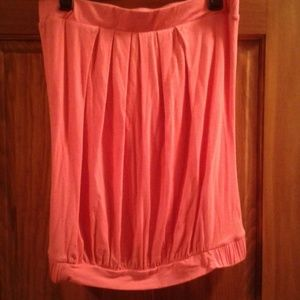 Pink tube top with elastic waist